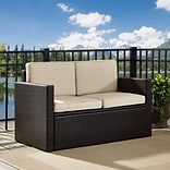 Crosley Palm Harbor Outdoor Wicker Loveseat In Brown With Sand Cushions (KO70092BR-SA)
