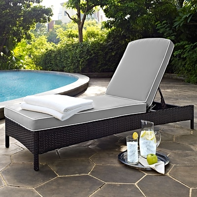 Crosley Palm Harbor Outdoor Wicker Chaise Lounge In Brown With Grey Cushions (KO70093BR-GY)