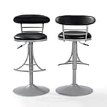 Crosley Jasper Swivel Counter Stool in Platinum with Black Cushion (CF521026PL-BK)