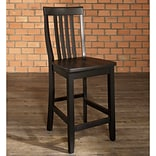 Crosley School House Bar Stool in Black Finish with 24 Inch Seat Height. (Set of Two) (CF500324-BK)