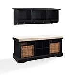Crosley Brennan 2 Piece Entryway Bench And Shelf Set In Black (KF60001BK)
