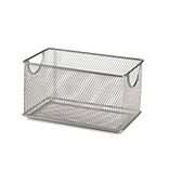 Design Ideas Mesh Stacking Bin, 4.8 H x 8 D, 4.5 W in., Silver (34259)