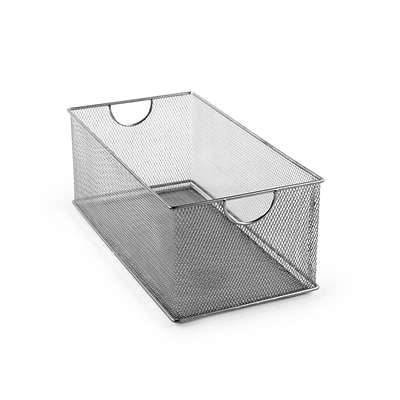 Design Ideas Mesh Stacking Bin 6 H x 14 D x 8 W in., Silver (342199)