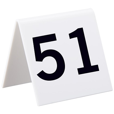 Alpine Industries 3x3 25 Piece Acrylic Tent Style Table Numbers, Numbered 51 Through 75 (493-51-75)