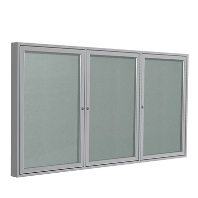 Ghent 4 H x 8 W Enclosed Vinyl Bulletin Board with Satin Frame, 3 Door, Silver (PA34896VX-193)