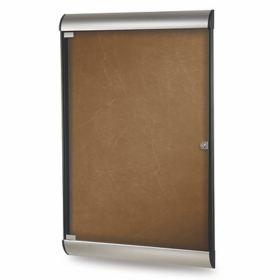 Ghent Silhouette 4 H x 2 W Enclosed Fabric Bulletin Board with Satin Frame, 1 Door, Camel (SILH20402)