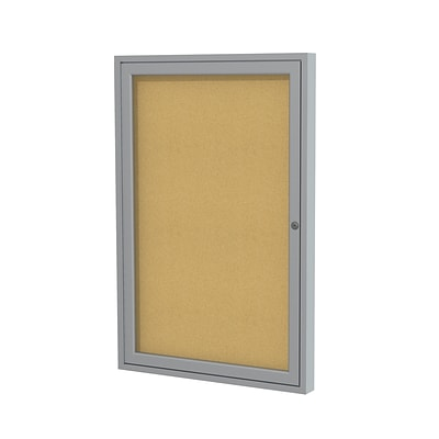 Ghent 36 H x 30 W Enclosed Natural Cork Bulletin Board with Satin Frame, 1 Door (PA13630K)