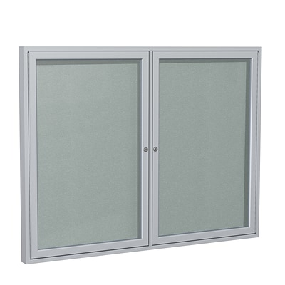 Ghent 3 H x 5 W Enclosed Vinyl Bulletin Board with Satin Frame, 2 Door, Silver (PA23660VX-193)