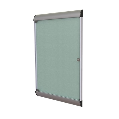 Ghent Silhouette 4 H x 2 W Enclosed Vinyl Bulletin Board with Satin Frame, 1 Door, Stone (SILH20419)