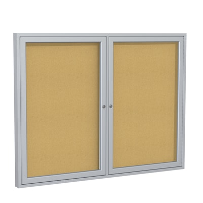 Ghent 3' H x 4' W Enclosed Natural Cork Bulletin Board with Satin Frame, 2 Door (PA23648K)