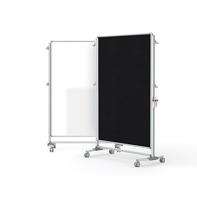 Ghent Nexus Partition 76 H x 52 W Mobile 2-Sided Porcelain Magnetic Whiteboard/ Fabric Bulletin Board, Black (NEX224MFP-95)