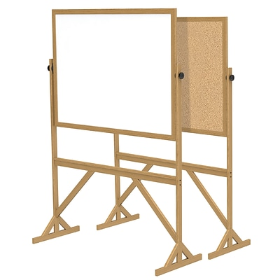 Ghent 3 H x 4 W Reversible Cork Bulletin Board/Whiteboard with Wood Frame (RMK34)