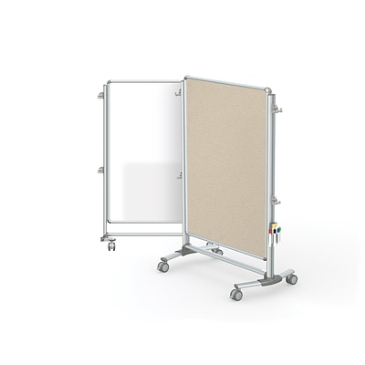 Ghent Nexus Jr. Partition 57 H x 40 W Mobile 2-Sided Porcelain Magnetic WB/ Fabric Bulletin Board, Beige (NEX223MFP-90)