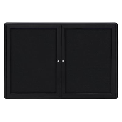 Ghent Ovation 3 H x 4 W Enclosed Fabric Bulletin Board with Black Frame, 2 Door, Black (OVK2-F95)