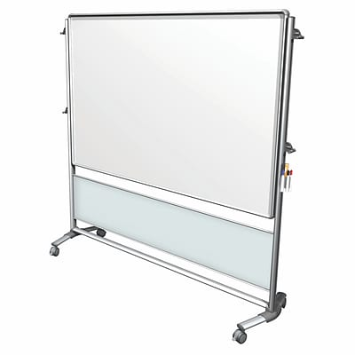 Ghent Nexus IdeaWall 76 H x 76 W Mobile 2-Sided Porcelain Magnetic Whiteboard (NEX206MW-FR)
