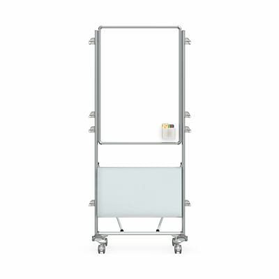 Ghent Nexus Easel+ 76 H x 32 W Mobile 2-Sided Porcelain Magnetic Whiteboard with Tablet Storage (NEX204EP-FR)