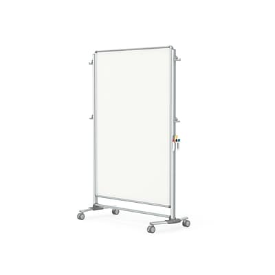 Ghent Nexus Partition 76H x 52W Mobile 2-Sided Porcelain Magnetic Whiteboard (NEX224MMP)
