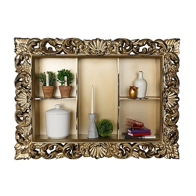 AdirHome Rectangular Wall Shelf with Classic Frame, Gold (510-05)
