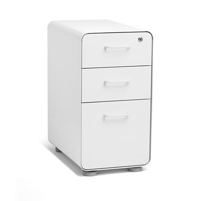 Poppin White Slim Stow 3-Drawer Vertical File Cabinet, White (104667)