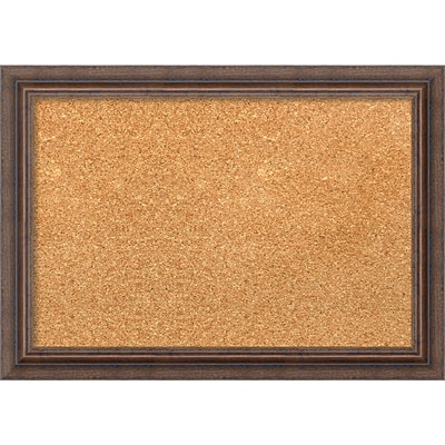 Amanti Art Framed Cork Board Small Distressed Rustic Brown 21 x 15 Frame Brown (DSW1290281)