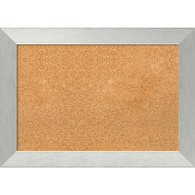 Amanti Art Framed Cork Board Medium Brushed Sterling Silver 28 x 20 Frame Silver (DSW3982815)