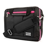 Vangoddy Nylon Backpack Messenger Shoulder Bag Case for 15.6 Inch Laptop, Black Pink (PT_NBKLEA293_1