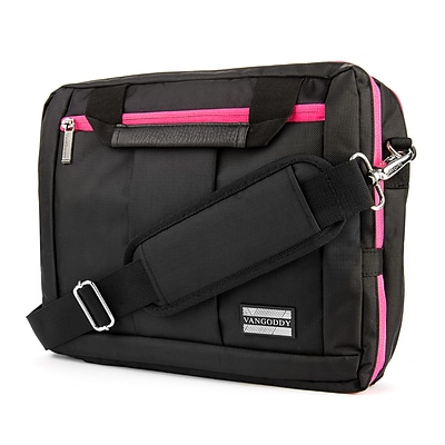Vangoddy Nylon Backpack Messenger Shoulder Bag Case for 15.6 Inch Laptop, Black Pink (PT_NBKLEA293_17)