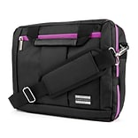 Vangoddy Nylon Backpack Messenger Shoulder Bag Case for 13.3 to 14 Inch Laptop, Black Purple (PT_NBK