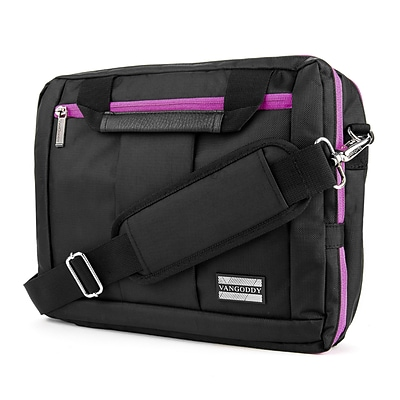 Vangoddy Nylon Backpack Messenger Shoulder Bag Case for 11 to 12 Inch Laptop, Black Purple (PT_NBKLEA275_17)
