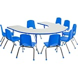 ECR4Kids Thermo-Fused Adjustable 66L x 60W Horseshoe Laminate Activity Table Grey/Blue (ELR-14203-