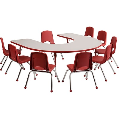 ECR4Kids Thermo-Fused Adjustable 66L x 60W Horseshoe Laminate Activity Table Grey/Red (ELR-14203-GYRDRDSS)