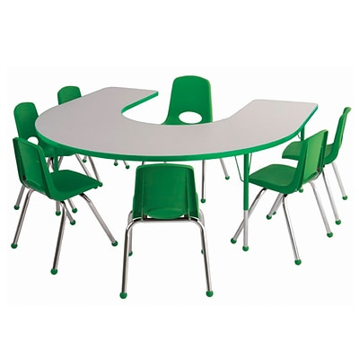 ECR4Kids Thermo-Fused Adjustable 66L x 60W Horseshoe Laminate Activity Table Grey/Green (ELR-14203-GYGNGNSS)