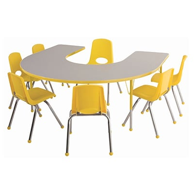ECR4Kids Thermo-Fused Adjustable 66L x 60W Horseshoe Laminate Activity Table Grey/Yellow (ELR-14203-GYYEYETS)