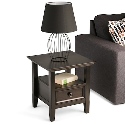 Simpli Home Amherst 19 x 19 x 20 inch End Side Table in Dark Brown (AXCAMH-002)