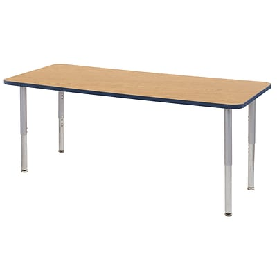 ECR4Kids Thermo-Fused Adjustable Leg 72 x 30 Rectangle Laminate Activity Table Oak/Navy/Silver (ELR-14212-OKNVSVSL)