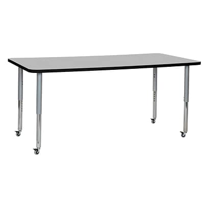 ECR4Kids T-Mold Adjustable Leg 72 x 36 Rectangle Laminate Activity Table Grey/Black/Silver (ELR-14113-GBKSV-SL)