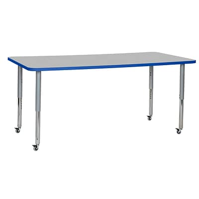 ECR4Kids Thermo-Fused Adjustable Leg 72 x 36 Rectangle Laminate Activity Table Grey/Blue/Silver (ELR-14213-GYBLSVSL)