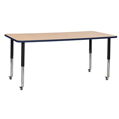 ECR4Kids T-Mold Adjustable Leg 72 x 36 Rectangle Laminate Activity Table Maple/Navy/Black (ELR-14113-MNVBK-SL)