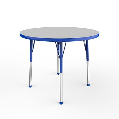 ECR4Kids Thermo-Fused Adjustable Ball 36 Round Laminate Activity Table Grey/Blue (ELR-14214-GYBLBLSB)
