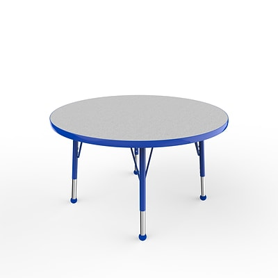 ECR4Kids Thermo-Fused Adjustable Ball 36 Round Laminate Activity Table Grey/Blue (ELR-14214-GYBLBLTB)