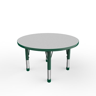 ECR4Kids Thermo-Fused Adjustable 36 Round Laminate Activity Table Grey/Green (ELR-14214-GYGNGNCH)