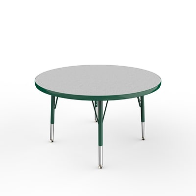 ECR4Kids Thermo-Fused Adjustable Swivel 36 Round Laminate Activity Table Grey/Green (ELR-14214-GYGNGNTS)