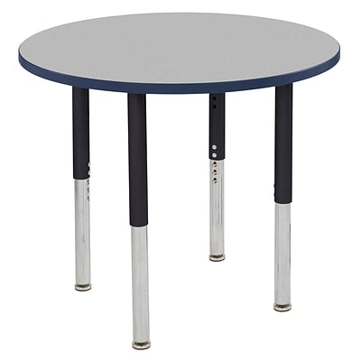 ECR4Kids T-Mold Adjustable Leg 36 Round Laminate Activity Table Grey/Navy/Black (ELR-14114-GNVBK-SL)