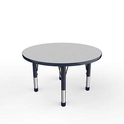 ECR4Kids Thermo-Fused Adjustable 36 Round Laminate Activity Table Grey/Navy (ELR-14214-GYNVNVCH)