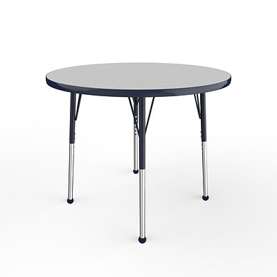 ECR4Kids Thermo-Fused Adjustable Ball 36 Round Laminate Activity Table Grey/Navy (ELR-14214-GYNVNVSB)