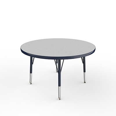 ECR4Kids Thermo-Fused Adjustable Swivel 36 Round Laminate Activity Table Grey/Navy (ELR-14214-GYNVNVTS)
