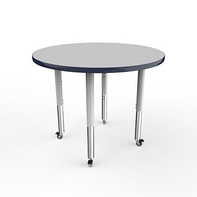 ECR4Kids T-Mold Adjustable 36 Round Laminate Activity Table Grey/Navy/Silver (ELR-14114-GNVSV-SL)