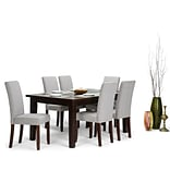 Simpli Home Acadian 7 piece Dining Set in Cloud Grey Linen Look Fabric (AXCDS7-ACA-CLG)