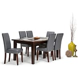Simpli Home Acadian 7 piece Dining Set in Stone Grey Faux Leather (AXCDS7-ACA-G)