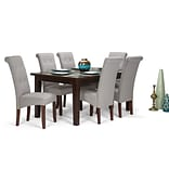 Simpli Home Cosmopolitan 7 piece Dining Set in Cloud Grey Linen Look Fabric (AXCDS7-COS-CLG)